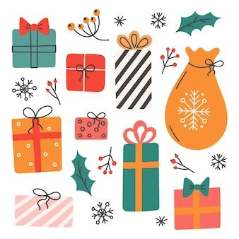 Satz weihnachtsgeschenke, vektorillustration im flachen stil, dekor für postkarten, poster