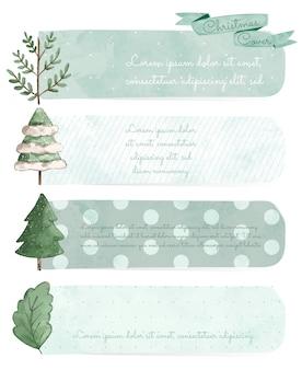 Satz weihnachtsgestaltungselemente im aquarellstil.
