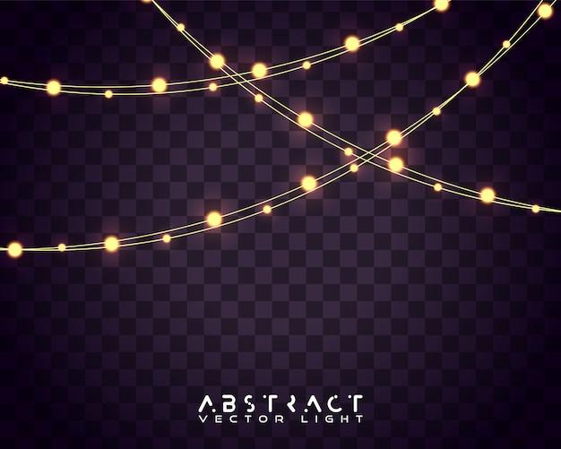 Satz weihnachtsglühende lichter für feiertagskarten, fahnen