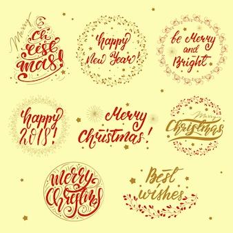 Satz weihnachtsgrußbeschriftung. vektor-illustration.