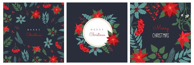 Satz weihnachtsgrußkarte