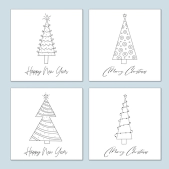 Satz weihnachtsgrußkarten von stilisierten geschmückten weihnachtsbäumen