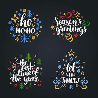 Satz weihnachtshandbeschriftung.
