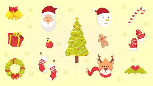 Satz weihnachtsikonen. weihnachtsdekorationselement. flache illustration