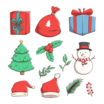 Satz weihnachtsillustration auf weißem hintergrund