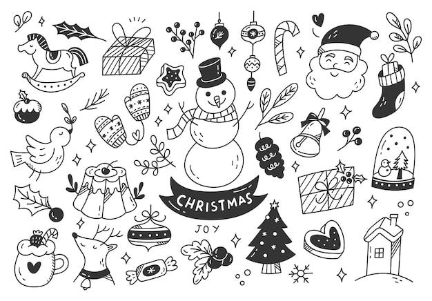 Satz weihnachtskarikaturkritzeleien