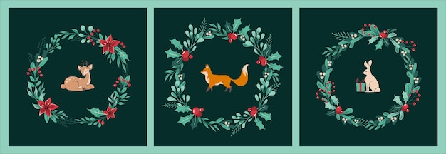 - satz weihnachtskarten mit kränzen aus zweigen, blättern, beeren, stechpalme, weihnachtsstern mit fuchs, reh und hase, kaninchen, geschenken in der mitte. retro-weihnachtstiere auf dunkelgrünem hintergrund.