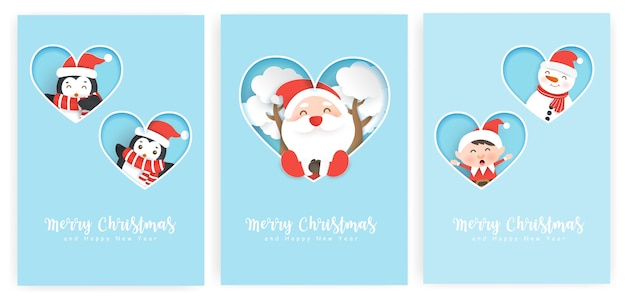 Satz weihnachtskarten und neujahrsgrußkarten mit einem niedlichen weihnachtsmann und freunden.