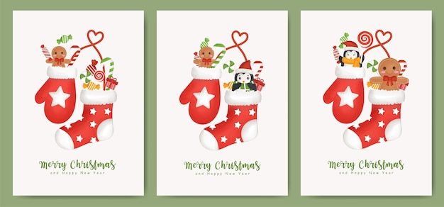 Satz weihnachtskarten und neujahrskarten mit socken und handschuhen für grußkarte.
