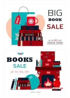 Satz weihnachtskarten-vektor-illustration eines großen weihnachtsverkaufs gemütlicher kamin mit büchern auf dem ...