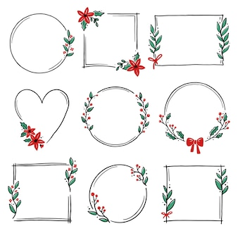 Satz weihnachtskranz-blumenrahmen für textdekoration.