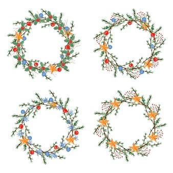 Satz weihnachtskranz mit zweigen, zweigen, kugeln und sternen.