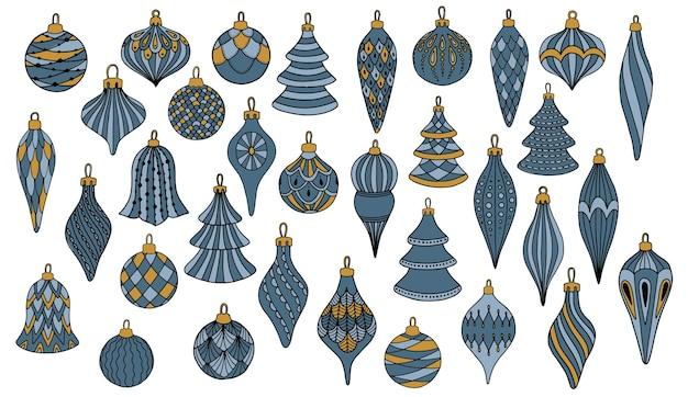 Satz weihnachtskugeln. sammlung von weihnachtsbäumen. für grußkarten, geschenkpapiere.