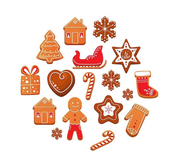 Satz weihnachtslebkuchenplätzchen mit schokoladenglasur.