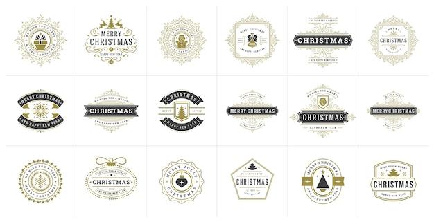 Satz weihnachtslogos, emblem, abzeichen. vintage ornamentdekoration.