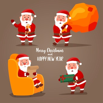 Satz weihnachtsmann-aufkleber für weihnachten mit typischen weihnachtsgrüßen