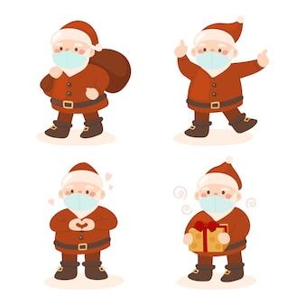 Satz weihnachtsmann, der gesichtsmaske trägt