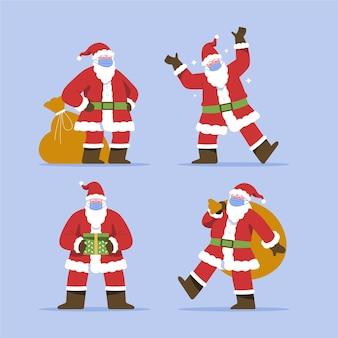 Satz weihnachtsmann, der gesichtsmasken trägt