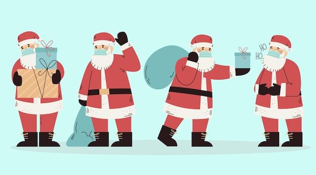 Satz weihnachtsmann, der medizinische maske trägt