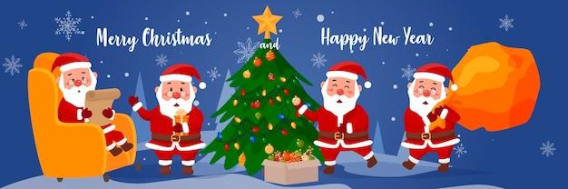 Satz weihnachtsmann für weihnachten auf einem blauen winterhintergrund