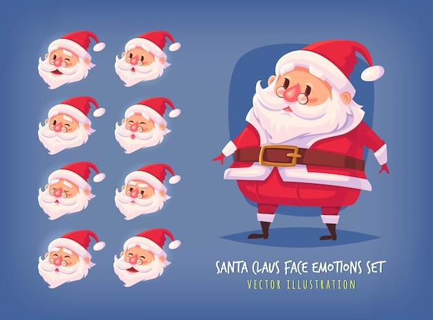 Satz weihnachtsmann-gesichtsemotionsikonen nette karikaturgesichtssammlung frohe weihnachtsillustration