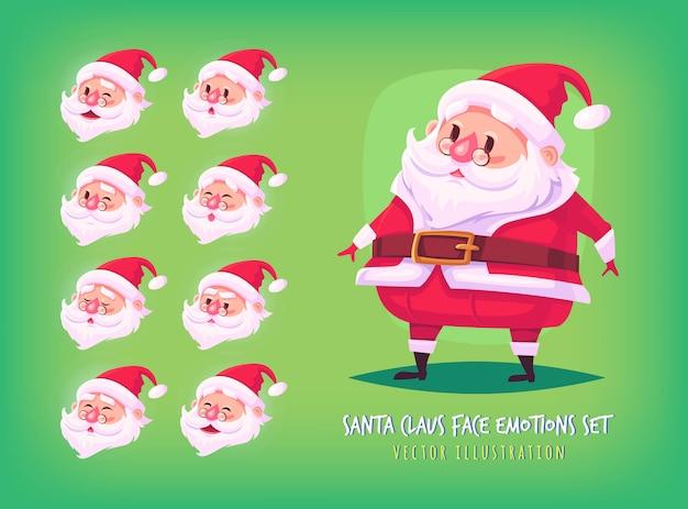 Satz weihnachtsmann-gesichtsemotionsikonen nette karikaturgesichtssammlung frohe weihnachtsillustration.