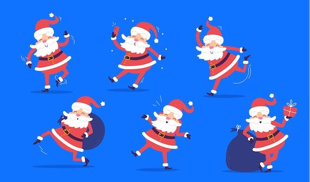 Satz weihnachtsmann in verschiedenen posen mit einer tüte geschenke