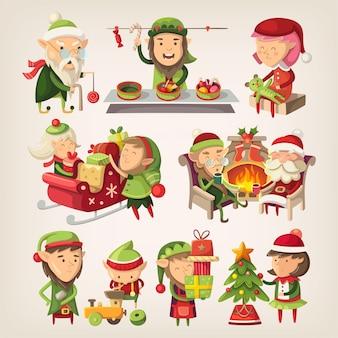 Satz weihnachtsmannelfen, die sich auf weihnachten vorbereiten