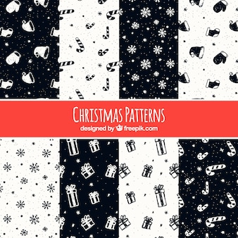 Satz weihnachtsmuster mit zeichnungen