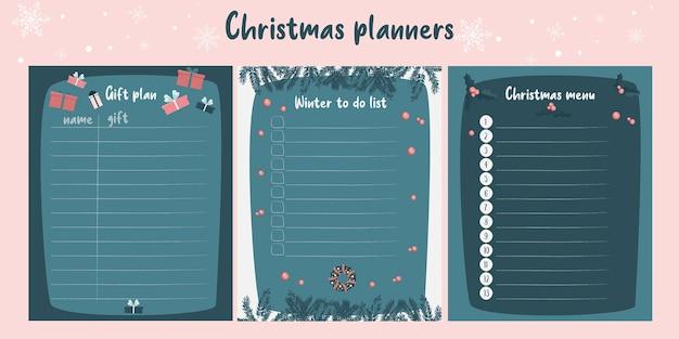 Satz weihnachtsplaner. menü, veranstaltungsplanung und was im winter zu tun ist