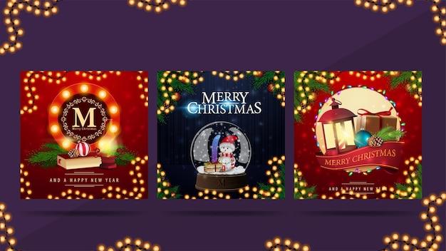 Satz weihnachtsquadratpostkarten mit runden grußsymbolen, die mit weihnachtsikonen verziert werden