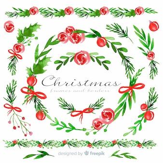 Satz weihnachtsrahmen und -ränder