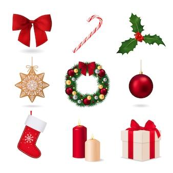 Satz weihnachtsrealistische dekorationen