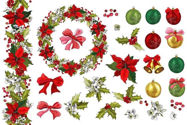 Satz weihnachtsschmuck, glocken, bögen, weihnachtsstern, stechpalmenbeeren, blumen.