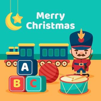 Satz weihnachtsspielwaren im flachen design