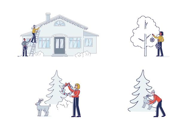 Satz weihnachtsvorbereitungen mit leuten, die haus- und hofdekorationen im freien setzen