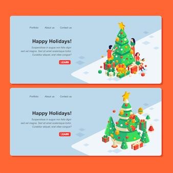 Satz weihnachtswebdesign mit illustration des leutecharakters, des weihnachtsbaums und der geschenkboxen
