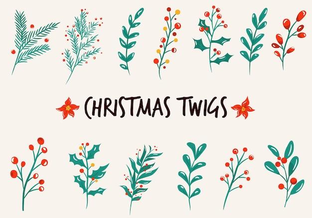 Satz weihnachtszweige, äste, pflanzen. vektor-illustration isoliert auf weißem hintergrund