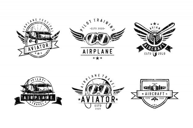 Satz weinlese-aircraf-logoentwurf