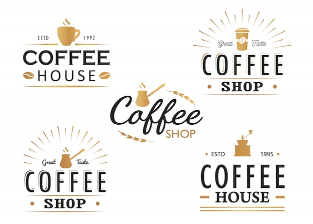 Satz weinlese kaffeelogoschablonen, -ausweise und -gestaltungselemente. logosammlung für kaffeestube, café, restaurant.