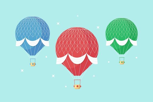 Satz weinlese-retro-heißluftballon mit korb im himmel lokalisiert auf hintergrund.