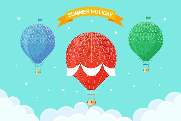 Satz weinlese-retro-heißluftballon mit korb im himmel