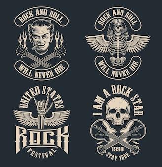 Satz weinlese-rock'n'roll-embleme auf dunklem hintergrund. perfekt für die shirts und viele andere. text befindet sich in der separaten gruppe.