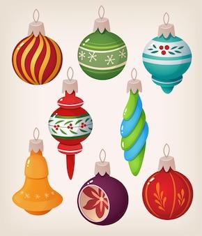 Satz weinlese-weihnachtskugeln. bunte isolierte symbole