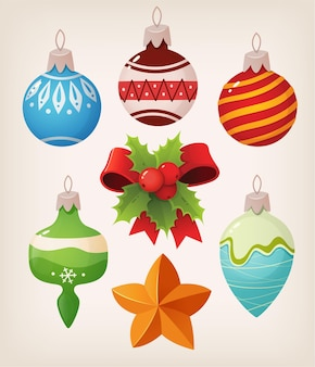 Satz weinlese-weihnachtskugeln. bunte isolierte symbole Premium Vektoren