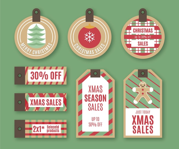 Satz weinlese-weihnachtsverkaufsanhänger