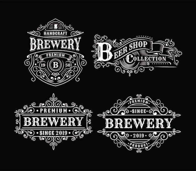 Satz weinlesebrauereiaufkleberdesign, kalligraphie und typografieelemente redete design an