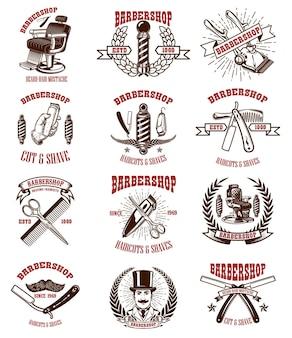 Satz weinlesefriseur-embleme