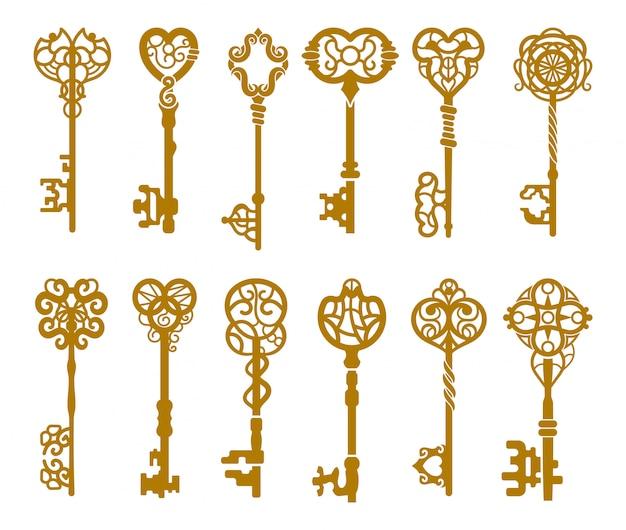 Satz weinlesegold-schlüsselschattenbild oder -ikonen
