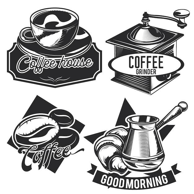 Satz weinlesekaffee-embleme